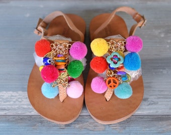 "Kids sandals ""Pansy"" mini, Pom pom sandals, Boho sandals, Greek sandals, leather sandals, Handmade sandals, colorful sandals"
