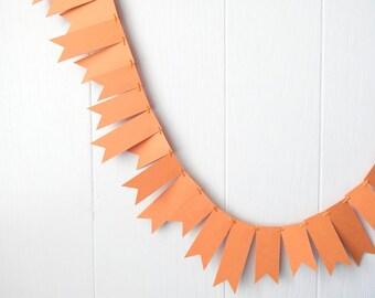 Pumpkin Orange Garland / Orange Bunting / Muted Orange Wedding Decor / Orange Fringe Garland / Orange Decor / Orange Photo Prop