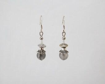 Jewelry-earrings natural stone-gray Quartz gemstones