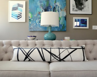 Channels Ebony/Ivory designer lumbar pillow covers - Made to Order - Kelly Wearstler