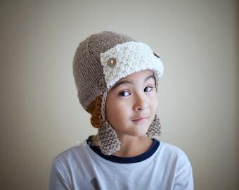 Pilot Hat, Pilot Helmet, Earflap Hat, Winter Hat