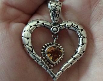 Citrine Sterling heart pendant