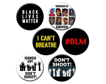 "6 Small Pins Black Lives Matter Button set - 6 Different ""Black Lives Matter"" Designs on 1.25"" Pinback Buttons or Badges"