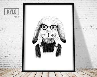 Bunny Rabbit Print, Funny Animal Art, Bunny Rabbit Illustration, Hand Drawn Art, Animal Print, Cute Bunny Poster, Rabbit Wall Art, Home Art