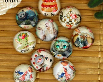 Set of 10 16mm glass cabochons, fairy tale, Alice ZC35