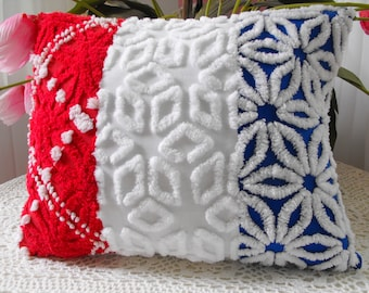 Patriotic Vintage Chenille Patchwork Pillow Red, White, Blue