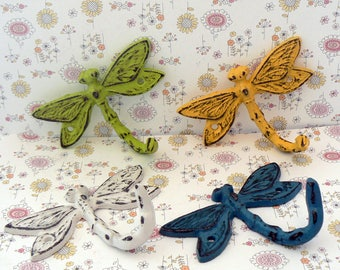 Dragonfly Cast Iron Mini Set 4 Wall Hooks Shabby Elegance Lime Green White Teal Blue Yellow Leash Key Potholder Potting Shed Pool Hooks