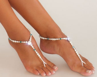 Something blue Beaded barefoot sandals Bridal foot jewelry Pearl and Rhinestone Beach wedding Barefoot Sandals Swarovski Elements