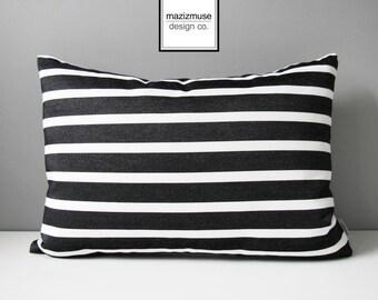 Black & White Outdoor Pillow Cover, Decorative Striped Pillow Cover, Modern Pillow Cover, Sunbrella Cushion Cover, Tuxedo Stripe, Mazizmuse