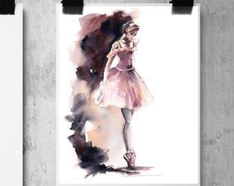 Ballerina Fine Art Print, Ballet watercolor painting print art, ballet art, ballerina painting art, Ballerina in Pink Print