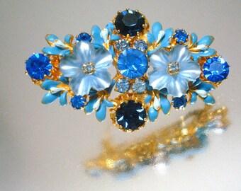 Blue Glass Flowers & Rhinestone Pin Brooch Vintage