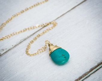 Turquoise necklace, turquoise drop necklace, turquoise gemstone necklace, layering necklace, dainty necklace, drop necklace simple necklace