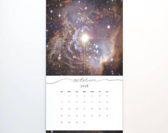 2018 Wall Calendar, 9.5 x 17.25, 2018 Calendar, Stars Universe Galaxy  (cal0016)