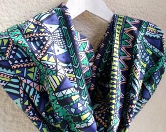 Print infinity scarf, Tribal infinity scarf, Tribal print scarf, Infinity scarf,Loop scarf,Circle scarf,Jersey scarf,Valentine's,Trend scarf