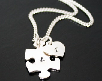 Autism Necklace, Sterling Silver personalized puzzle pendant, autism awareness, custom jigsaw puzzle piece with heart Mothers Day Gift