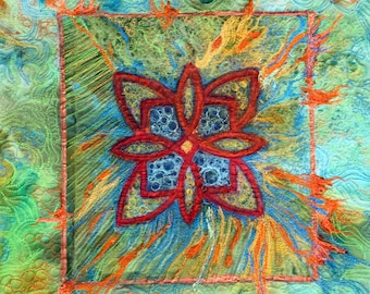 A wall hanging art quilt,with silk painting on sale, outstanding art quilting in teal turquoise, blue green and ocean blue