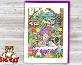 CAT CARD. Meowice in Wonderland. Alice in Wonderland Cats Note Card. 5x7 Framable Card.