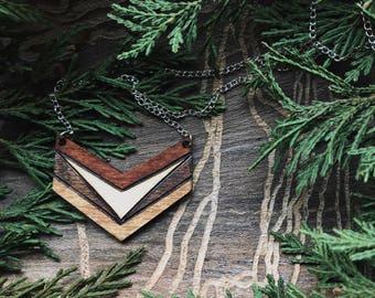 Natural Arrow Chevron Pine Pendant Necklace