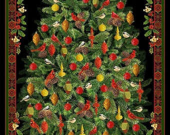 Christmas Tree w/Poinsettias Panel by Timeless Treasures