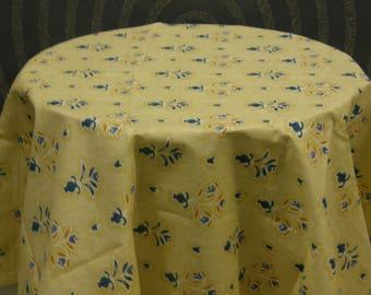 Flower Vase Yellow Blue Tablecloth Cover Loneta fabric|100% Cotton Loneta fabric,Custom Dimentions on request,Round Tablecloth cotton fabric