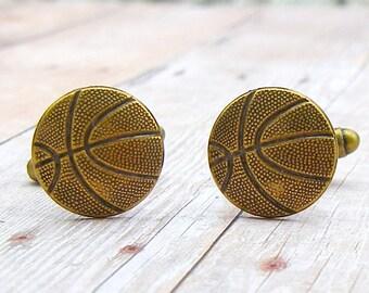 Basketball - antique brass cufflinks