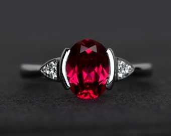 red ruby ring oval cut silver ring red gemstone July birthstone ring