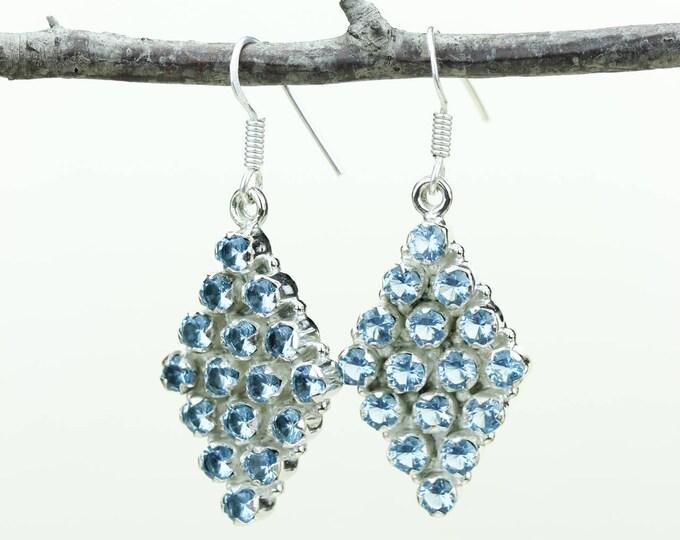 Blue Topaz 925 SOLID (Nickel Free) Sterling Silver Italian Made Dangle Earrings e600