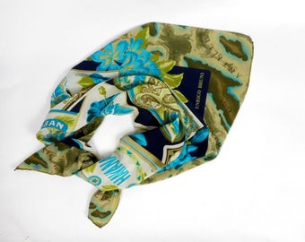 vintage silk scarf, Enrico Bruni scarf, printed silk scarf, pure silk scarf, square  silk scarf