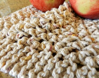 Knit Cotton Dishcloth, Square Dishrag, Beige Cleaning Cloth, Nubby Texture, Strong, Hardworking, Green Eco Friendly Cleaning