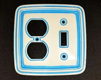 Vintage Painted Porcelain Look Brass Blue and White Light Switch Outlet Cover
