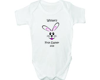 First Easter with Custom Name, Bodysuit, Romper, Baby clothes