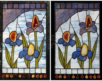 CUSTOM Stained Glass Panel Irises Blue White with Agates Stained Glass Window Panel Handmade - Irises
