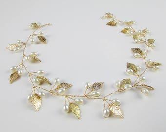 MACY Leafy Pearl Hair Vine, Bridal Headpiece, Wedding Hair Vine, Gold Leaf Hair Vine, Gold Bridal Hair Piece, Wedding Hair Wreath
