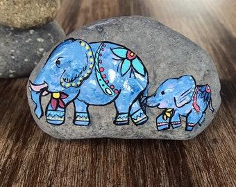 Elephant love hand painted rock