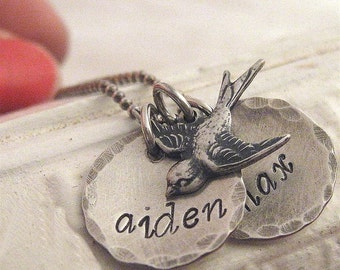 mothers necklace - Mamma's Nest antiqued name necklace with bird charm - hand stamped necklace