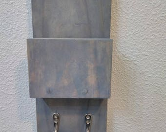Rustic entryway hey hook with mail slot. mail organizer with hey holder, wall hanging