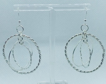 Solid Sterling Silver Large Moving Hoops