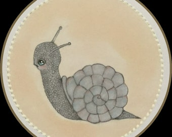 Original whimsical art lowbrow snail fantasy art