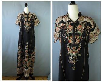 Black Asian Style Vintage Dress / Floral Chinese Maxi Dress / Asian Mandarin Dress / Oriental Rose Print Vintage Dress / small