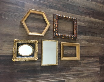 Eclectic Gallery Collection Elegant Wall Decor - 5 Piece Ornate - 3 Gilt Open Frames - 2 Baroque Mirrors - Chunky, Chippy, Gesso, Old, Relic