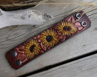 Sunflower Cuff Bracelet, Leather Tooled, Dark Brown, Yellow, Flower