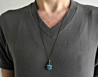 Sea Turtle Necklace Pendant, Turtle Jewelry,Blue Patina Turtle Charm Necklace, Beach Jewelry, Best Friend, Boyfriend Gift