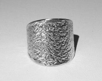 """Medieval"" 925 Silver ring recycled textured handmade"