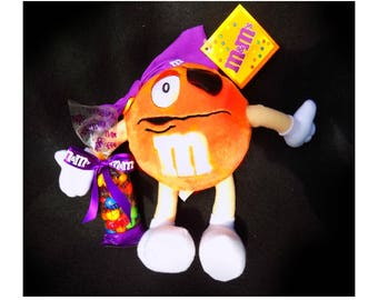 "Vintage 10""  Orange M &M Stuffed Plush Toy - Mars Candy - Memorabilia M  M  -  Orange M M -   M M collectible - # 2"