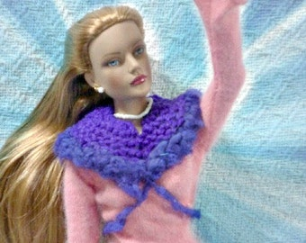 SALE 50 off/ Doll Capelet / Knitted Boho Chic  Purple for 16 inch / Tonner Tyler Sydney Gene Ellowyne  BJD MSD Art Doll clothes
