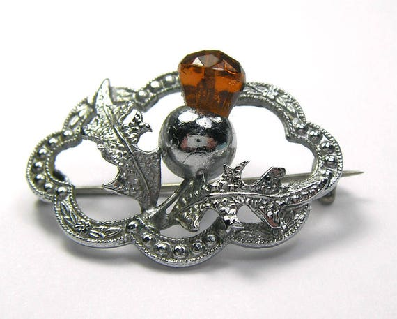 Vintage Thistle Brooch with Amber Colour Stone