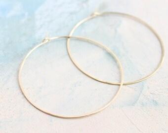 """Minimal Hoop Earrings - Thin Gold Hoop Earrings - Large Hoop Earrings ( 2"""" ) gold hoop earings, large gold hoops"""