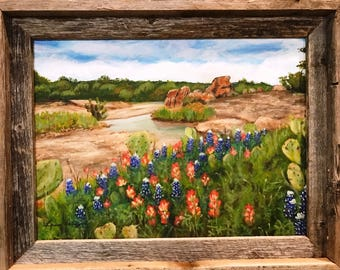 Texas Hill Country Bluebonnet, Indian Paintbrush & Prickly Pear Landscape Painting in Rustic Barnwood Frame