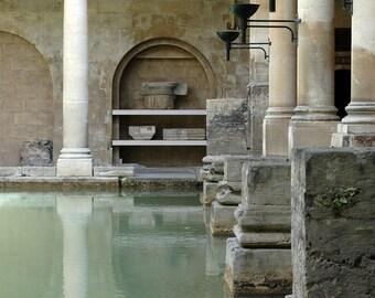 England Photography, Roman Bath, Bath England, Black and White, Fine Art Print, Europe, Travel Photo, sage green, beige, Home Decor