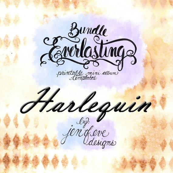 Everlasting & Mini Everlasting Printable Mini album Template Bundle in Harlequin and PLAIN